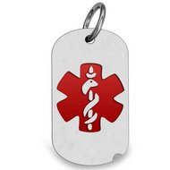 STAINLESS STEEL Medical Dog Tag W  Red Enamel