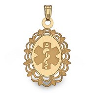 14K Gold Oval Medical Pendant