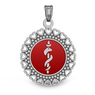 STAINLESS STEEL ENAMELED MEDICAL ID PENDANT