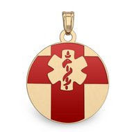 14K Filled Gold Round Medical Pendant w  Enamel