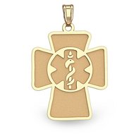 14K Yellow Gold Cross Medical Pendant