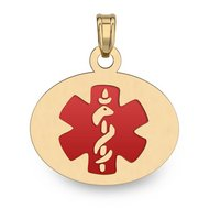 14K Filled Gold OVAL Medical Pendant W/ RED ENAMEL