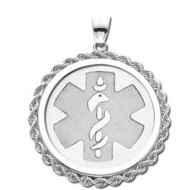 Sterling Silver Round W/ Rope Medical ID Charm or Pendant