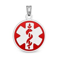 Sterling Silver Round Medical ID Charm or Pendant W/ Red Enamel