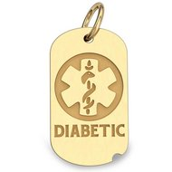 14K Gold Dog Tag  Diabetic  Pendant