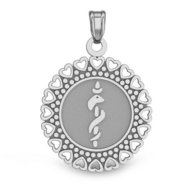 14K White Gold Round Medical Pendant