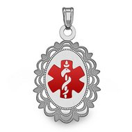 14K White Gold Oval Medical Pendant W  Red Enamel
