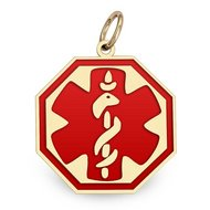 14K Filled Gold Octagon Medical Charm W  Red Enamel