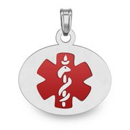 Sterling Silver Oval Medical ID Charm or Pendant W  Red Enamel