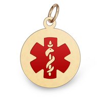 14K Gold Round Medical Pendant w  Enamel