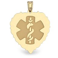 14K Gold  Scalloped Heart  Medical Charm