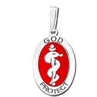 Sterling Silver Oval  God Protect  Medical Pendant W  Red Enamel