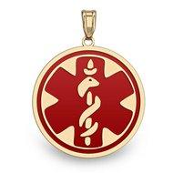 14K Gold Round Medical Pendant W/ RED ENAMEL