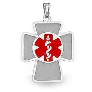 Sterling Silver Cross Medical Pendant W  Red Enamel