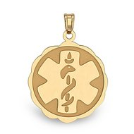 14K Gold  Floral Curved  Medical Charm