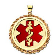 EZ 14 karat Gold Rope Round Medical Pendant W/ Red Enamel