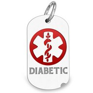 "14K White Gold Dog Tag ""Diabetic"" Pendant W/ Red Enamel"