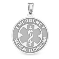 14K White Gold Round  Emergency Medical Technician  Pendant