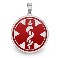 EZ 14 karat White Gold Round Medical Pendant W/ RED ENAMEL