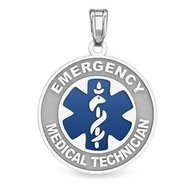 14K White Gold Round  Emergency Medical Technician  Pendant W  Blue