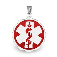 """Sterling Silver """"Floral""""  Medical ID Charm or Pendant W/ Red Enamel"""