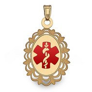 14K Gold Oval Medical Pendant W/ Red Enamel