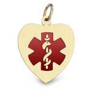 14K Gold Heart Medical Charm W  Red Enamel