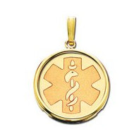 14K Gold  Round W/ Bezel  Medical Pendant