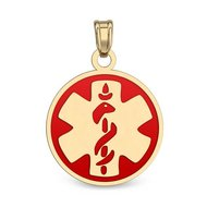 14K Filled Gold Round Medical Pendant w/ Enamel