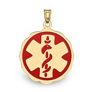14K Gold  Floral Curved  Medical Charm W  Red Enamel