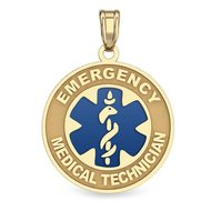 "14K Gold Round ""Emergency Medical Technician"" Pendant W/ Blue"