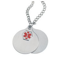 Stainless Steel Hypo Allergenic Round Tag w  Chain