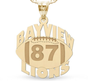 Custom Team Football Charm with Number