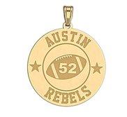 Personalized Football Team   Number Round Disc Pendant or Charm