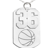 Basketball Dog Tag with Number Pendant Swivel