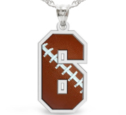 Football Color Enameled Single Number Pendant or Charm