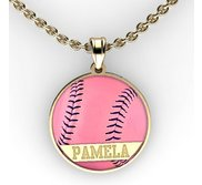 Color Enameled  Pink Softball Pendant with Name