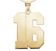 High Polished Jersey Number Pendant with 2 Digits
