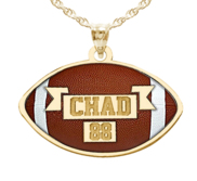 Color Enameled Football Pendant with Name   Number