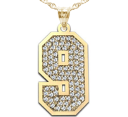 New  Jersey Single Number Charm or  Pendant Paved with Diamonds