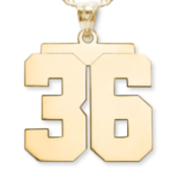 """NEW"" High Polished Jersey Number Charm or  Pendant with 2 Digits"