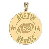 Personalized Football Team & Number Round Disc Pendant or Charm