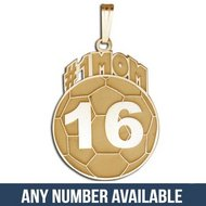 "Custom #1 ""SOCCER MOM"" Soccerball Charm or  Pendant w/ Number"