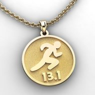 Running or Jogging silhouette Pendant with Name