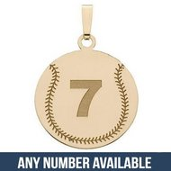 Custom Softball Pendant w/  Number