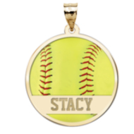 Color Enameled  Yellow Softball Pendant with Name