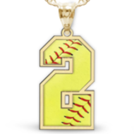 Softball Color Enameled Single Number Pendant or Charm