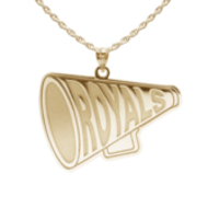 Custom Cheerleader  Megaphone  Charm or  Pendant w  Team Name