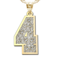 New  Jersey Single Number Charm or  Pendant w  10 Diamonds