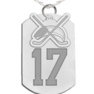 Hockey Dog Tag with Number and Swivel Pendant